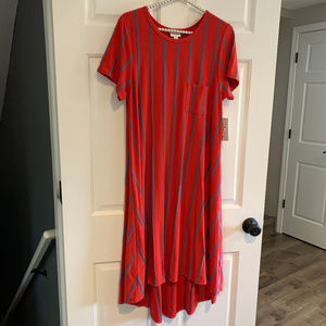 NEW LuLaRoe Red and Blue Striped Carly Dress Small